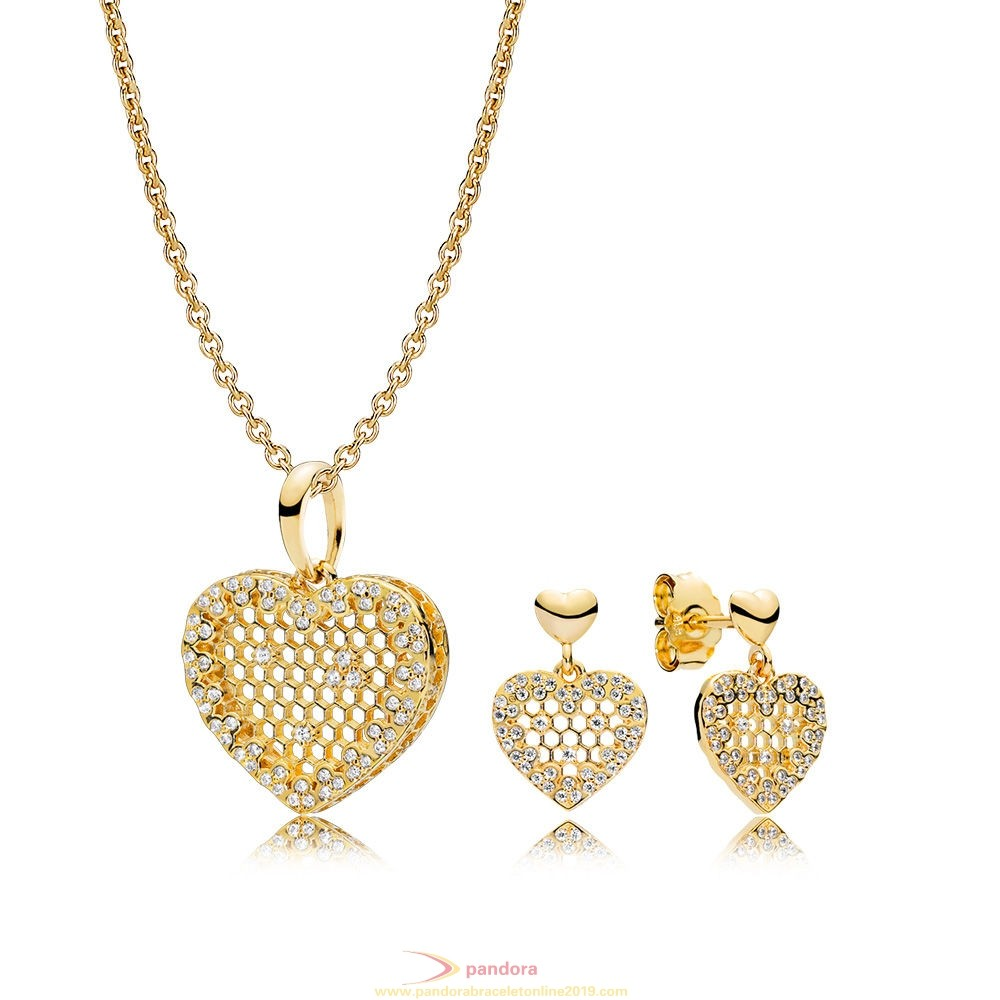 Find Pandora Jewelry Pandora Shine Honeycomb Lace Necklace And Earring Set