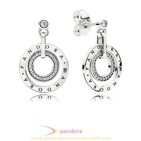 Find Pandora Jewelry Pandora Signature Pandora Circles Drop Earrings Clear Cz