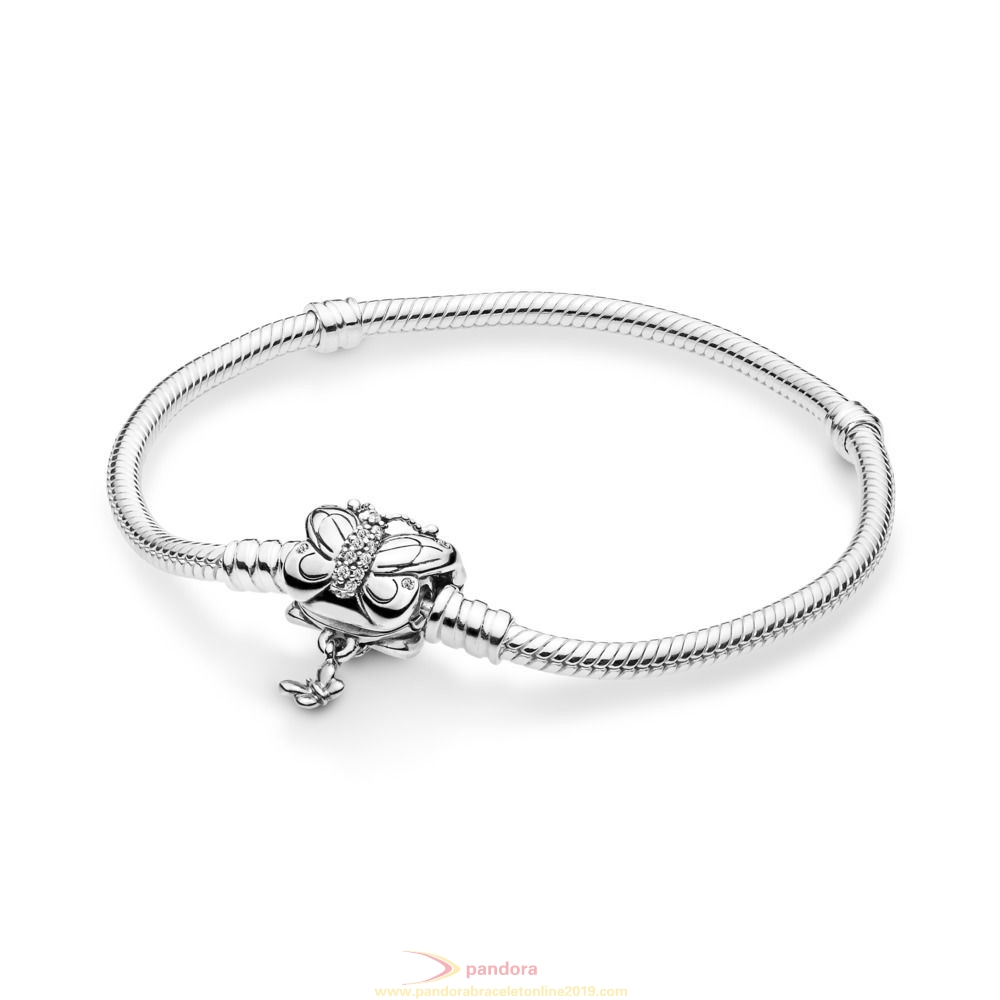 Find Pandora Jewelry Moments Silver Bracelet With Decorative Butterfly Clasp