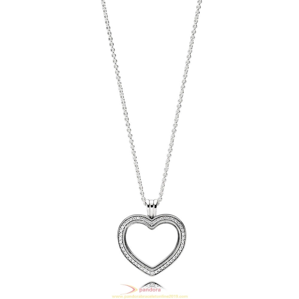 Find Pandora Jewelry Sparkling Pandora Floating Heart Locket Necklace With Pendant