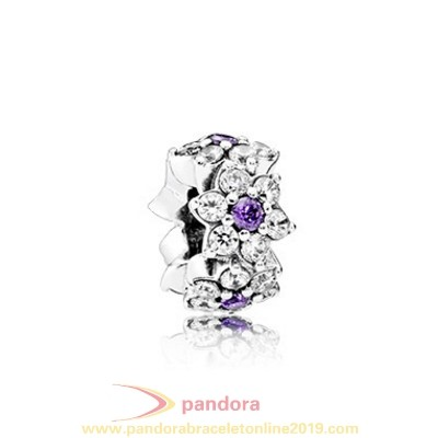 Find Pandora Jewelry Pandora Spacers Charms Forget Me Not Spacer Purple Clear Cz