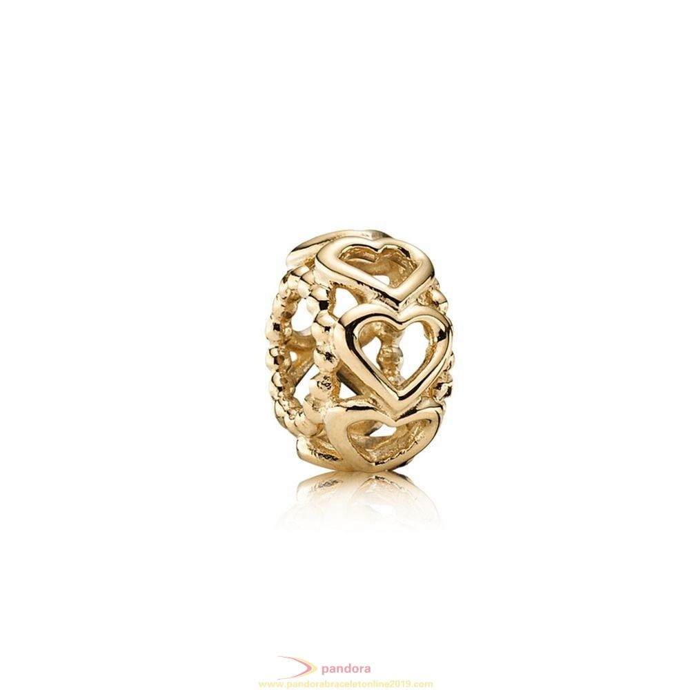 Find Pandora Jewelry Pandora Spacers Charms Lucky In Love Heart Spacer 14K Gold