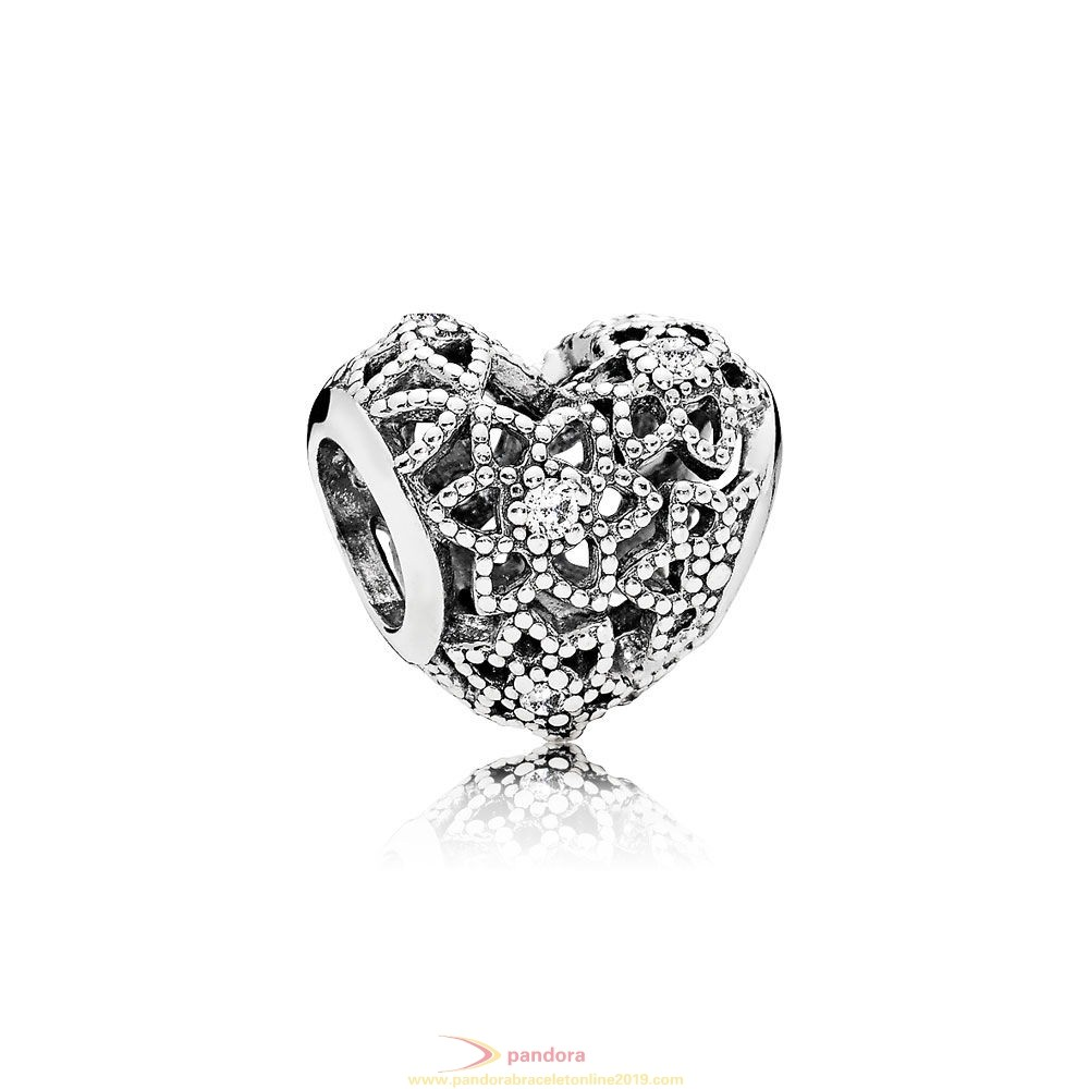Find Pandora Jewelry Pandora Sparkling Paves Charms Blooming Heart Charm Clear Cz