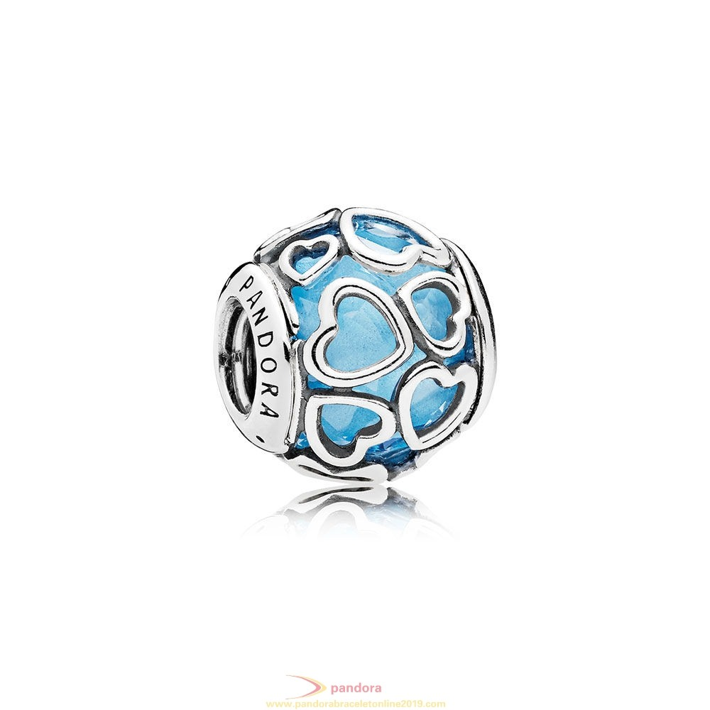 Find Pandora Jewelry Pandora Sparkling Paves Charms Encased In Love Charm Sky Blue Crystal