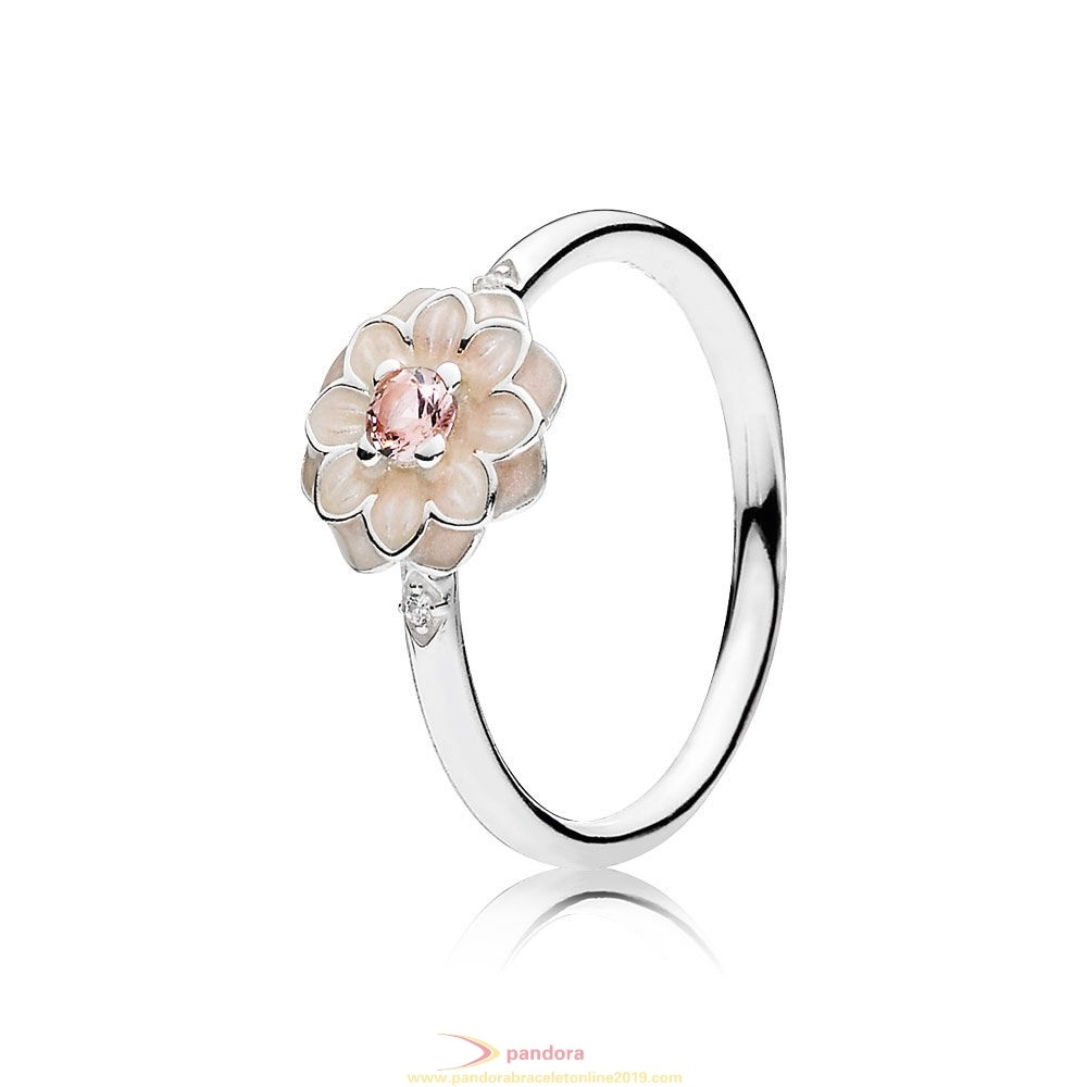 Find Pandora Jewelry Pandora Rings Blooming Dahlia Ring Cream Enamel Clear Cz Blush Pink