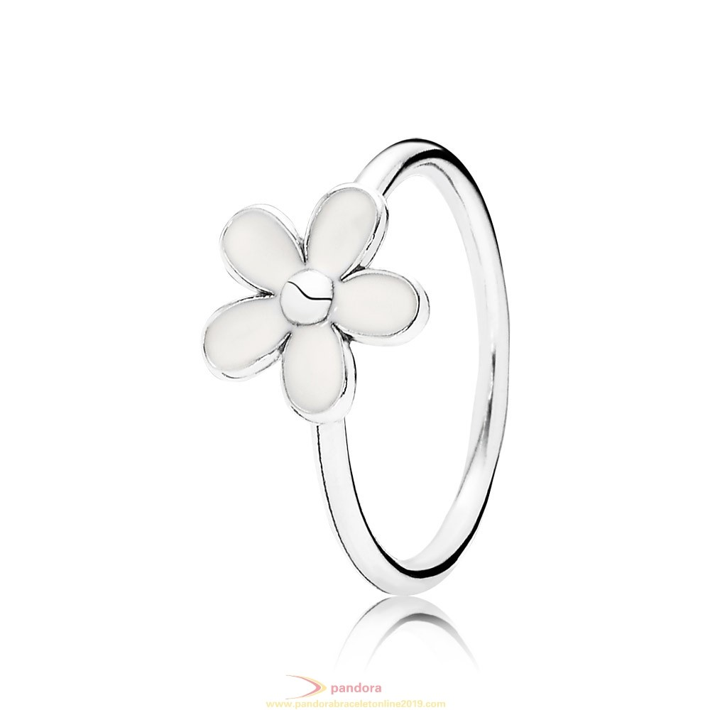 Find Pandora Jewelry Pandora Rings Darling Daisy White Enamel 925 Silver Fancy Ring