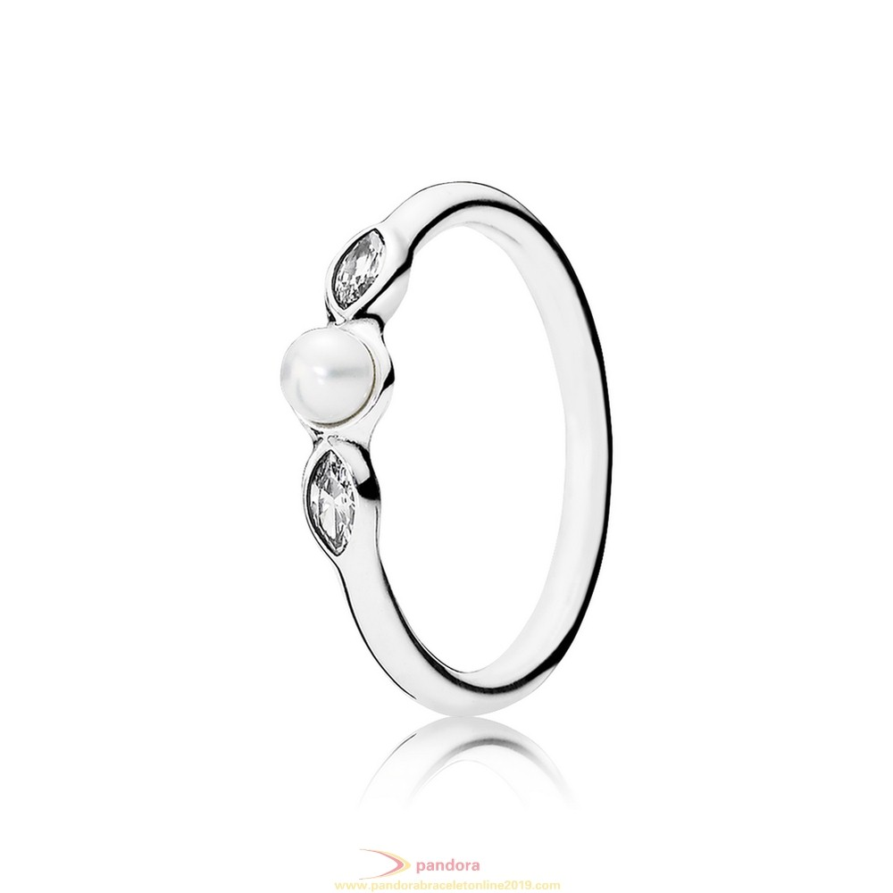 Find Pandora Jewelry Pandora Rings Petite Luminous Leaves Ring White Pearl Clear Cz