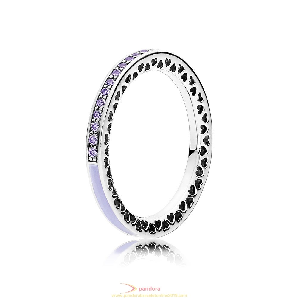 Find Pandora Jewelry Pandora Rings Radiant Hearts Of Pandora Ring Lavender Enamel Clear Cz