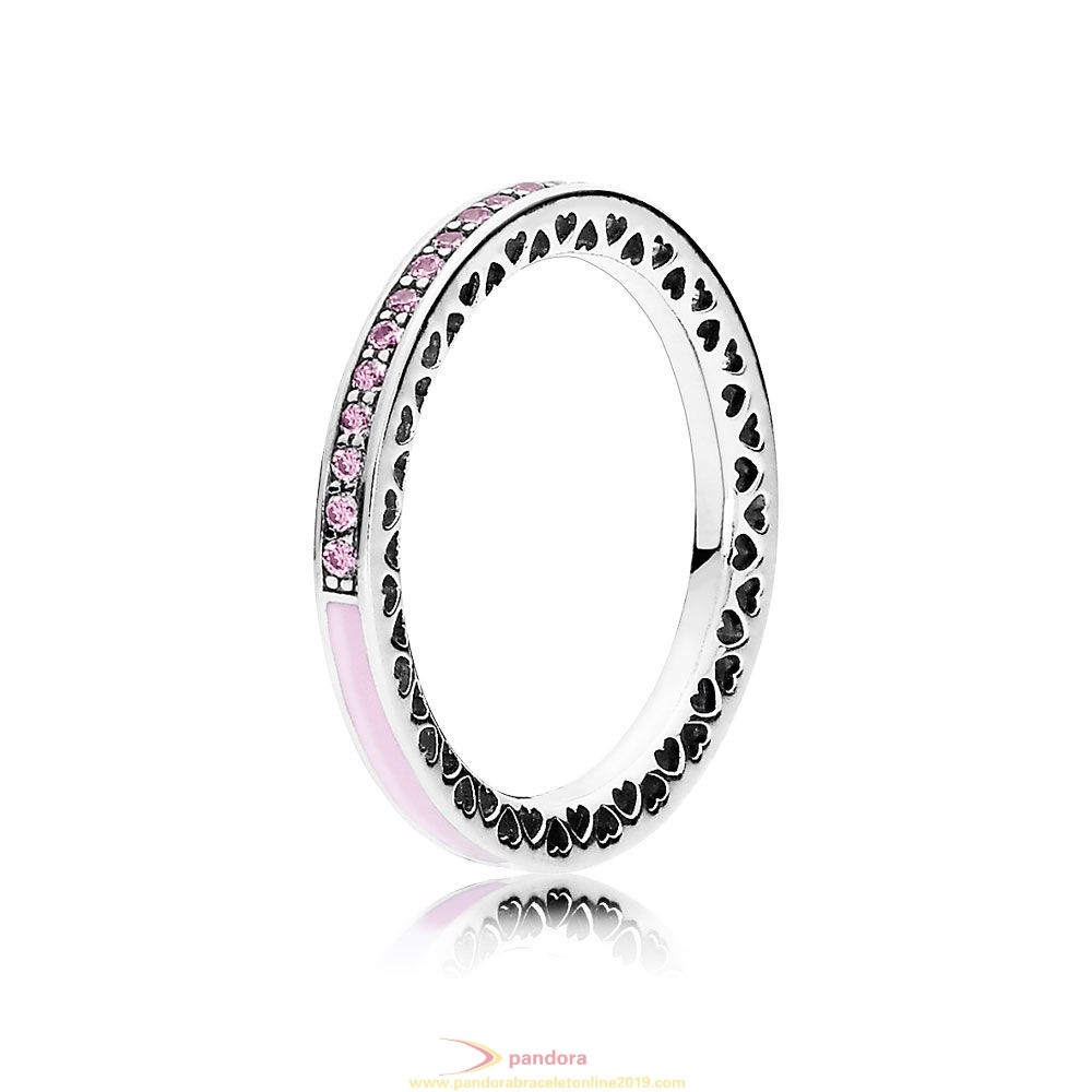 Find Pandora Jewelry Pandora Rings Radiant Hearts Of Pandora Ring Light Pink Enamel Clear Cz