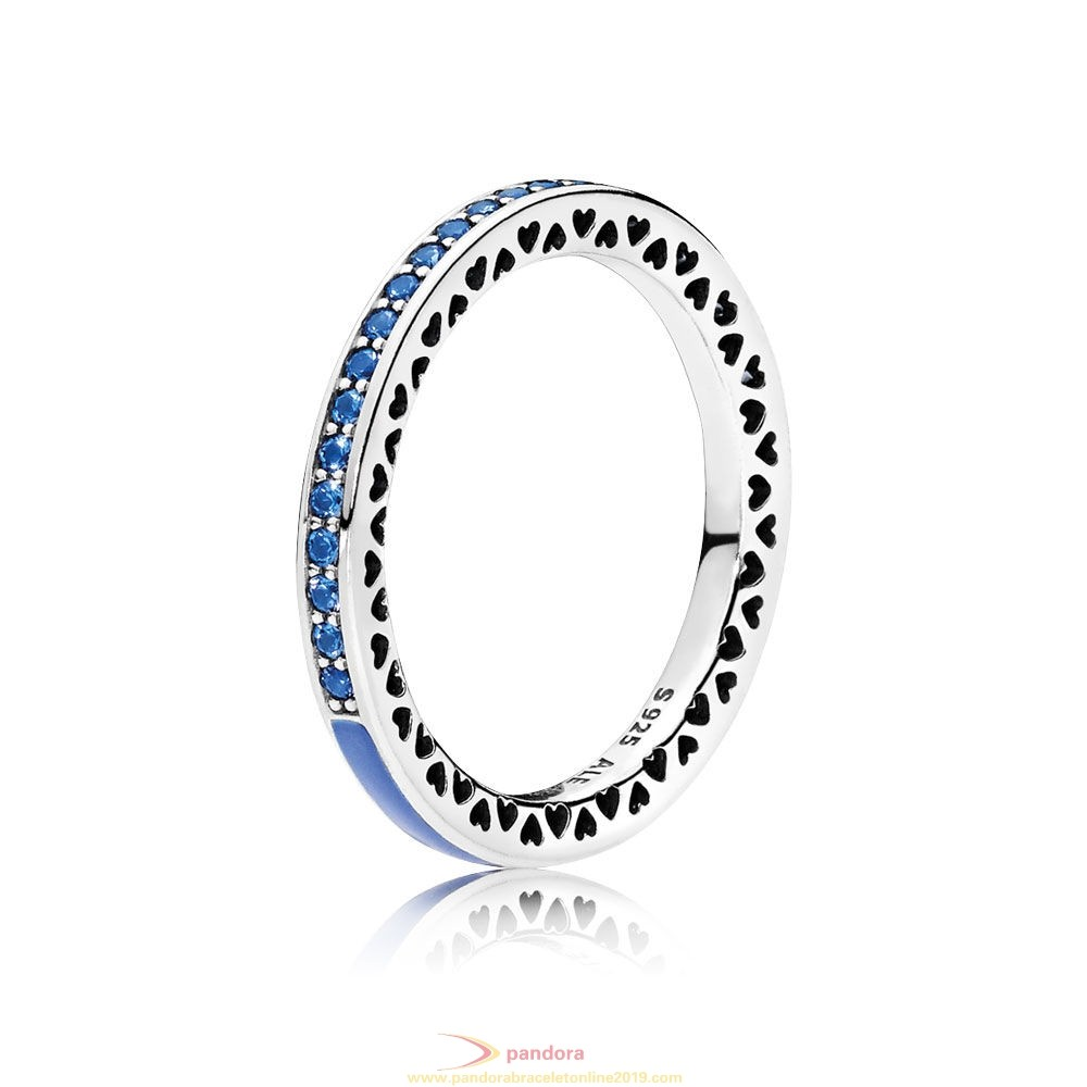 Find Pandora Jewelry Pandora Rings Radiant Hearts Of Pandora Ring Princess Blue Enamel Royal