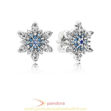 Find Pandora Jewelry Pandora Earrings Crystalized Snowflake Stud Earrings Blue Crystals Clear Cz