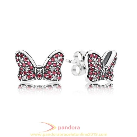 Find Pandora Jewelry Pandora Earrings Disney Minnie'S Sparkling Bow Stud Earrings Red Clear Cz
