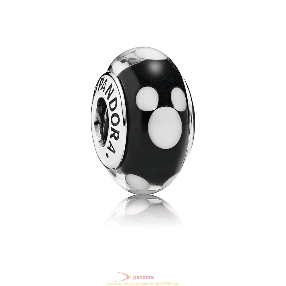 Find Pandora Jewelry Disney Mickey Silver Charm With Black And White Murano Glass