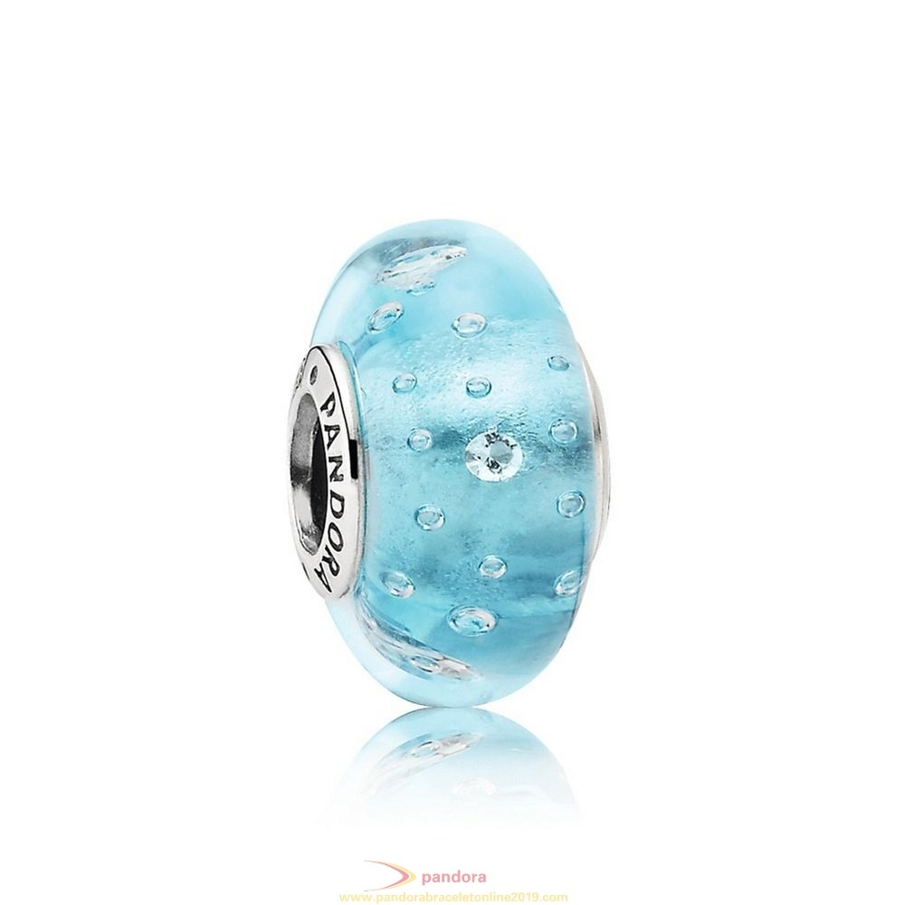 Find Pandora Jewelry Pandora Touch Of Color Charms Blue Effervescence Charm Murano Glass Clear Cz