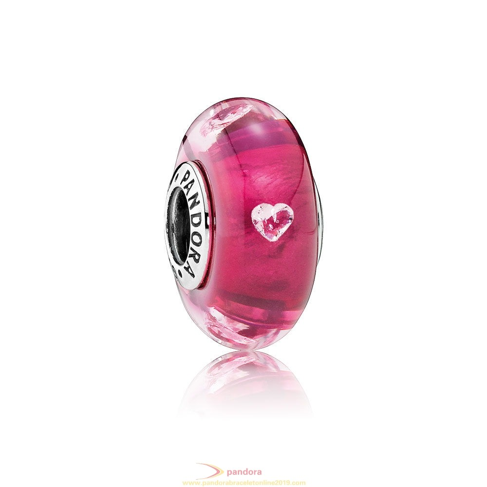Find Pandora Jewelry Pandora Touch Of Color Charms Cerise Heart Charm Murano Glass Clear Cz