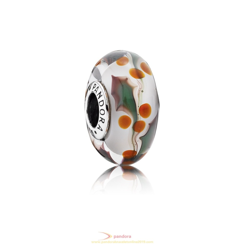 Find Pandora Jewelry Pandora Touch Of Color Charms Christmas Holly Charm Murano Glass