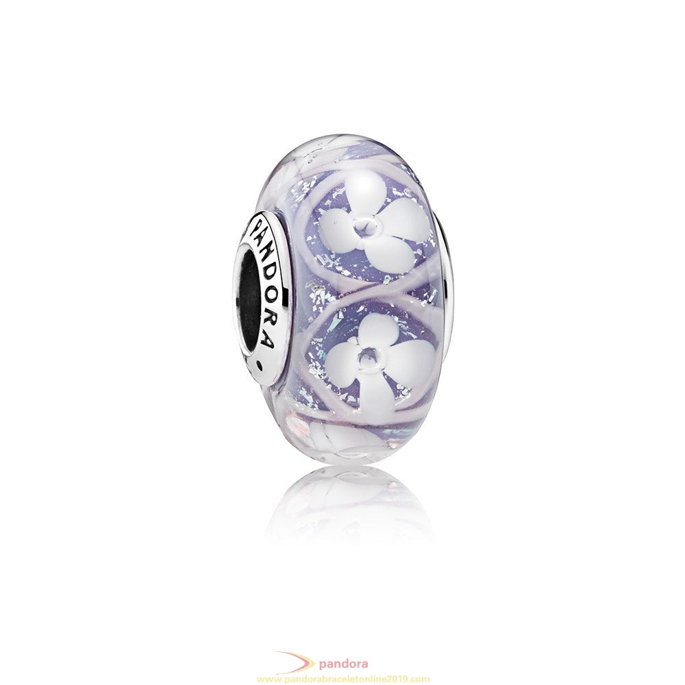 Find Pandora Jewelry Pandora Touch Of Color Charms Purple Field Of Flowers Charm Murano Glass