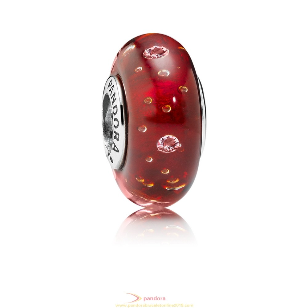 Find Pandora Jewelry Pandora Touch Of Color Charms Red Effervescence Charm Murano Glass Clear Cz