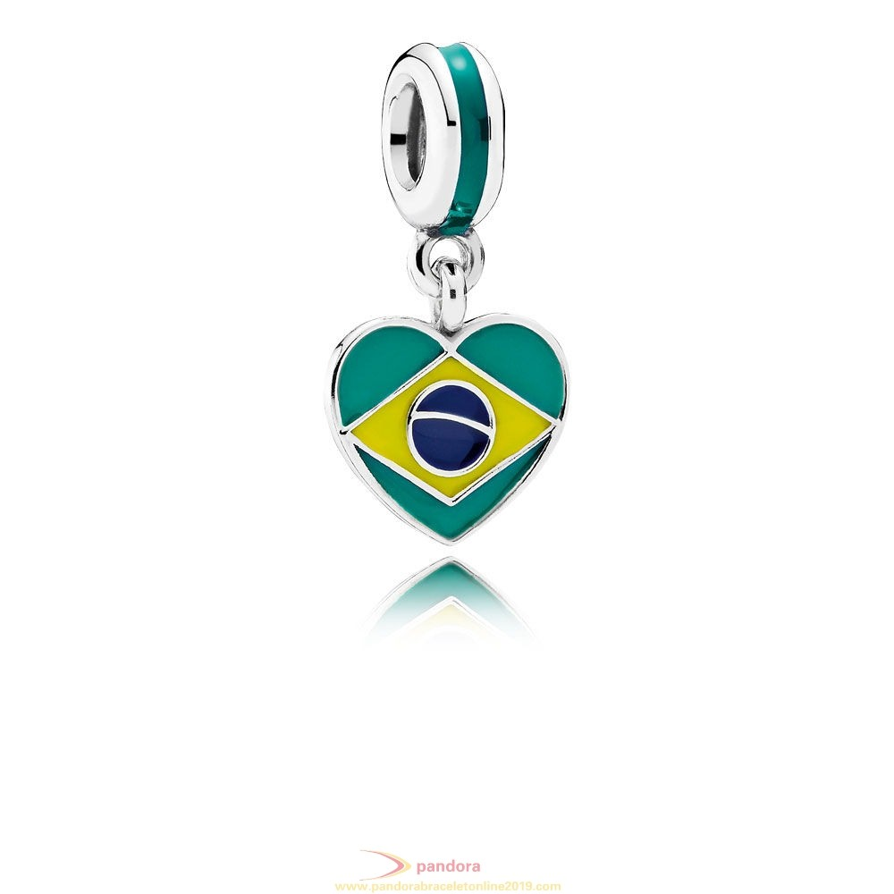 Find Pandora Jewelry Pandora Vacation Travel Charms Brazil Heart Flag Pendant Charm Mixed Enamels
