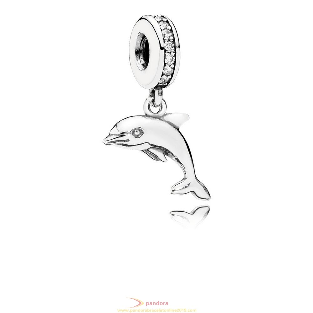 Find Pandora Jewelry Pandora Vacation Travel Charms Playful Dolphin Pendant Charm Clear Cz