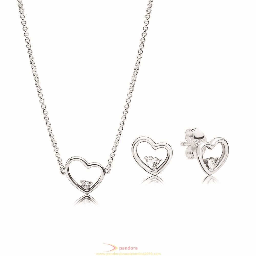 Find Pandora Jewelry Shape Of My Heart Necklace And Earring Set