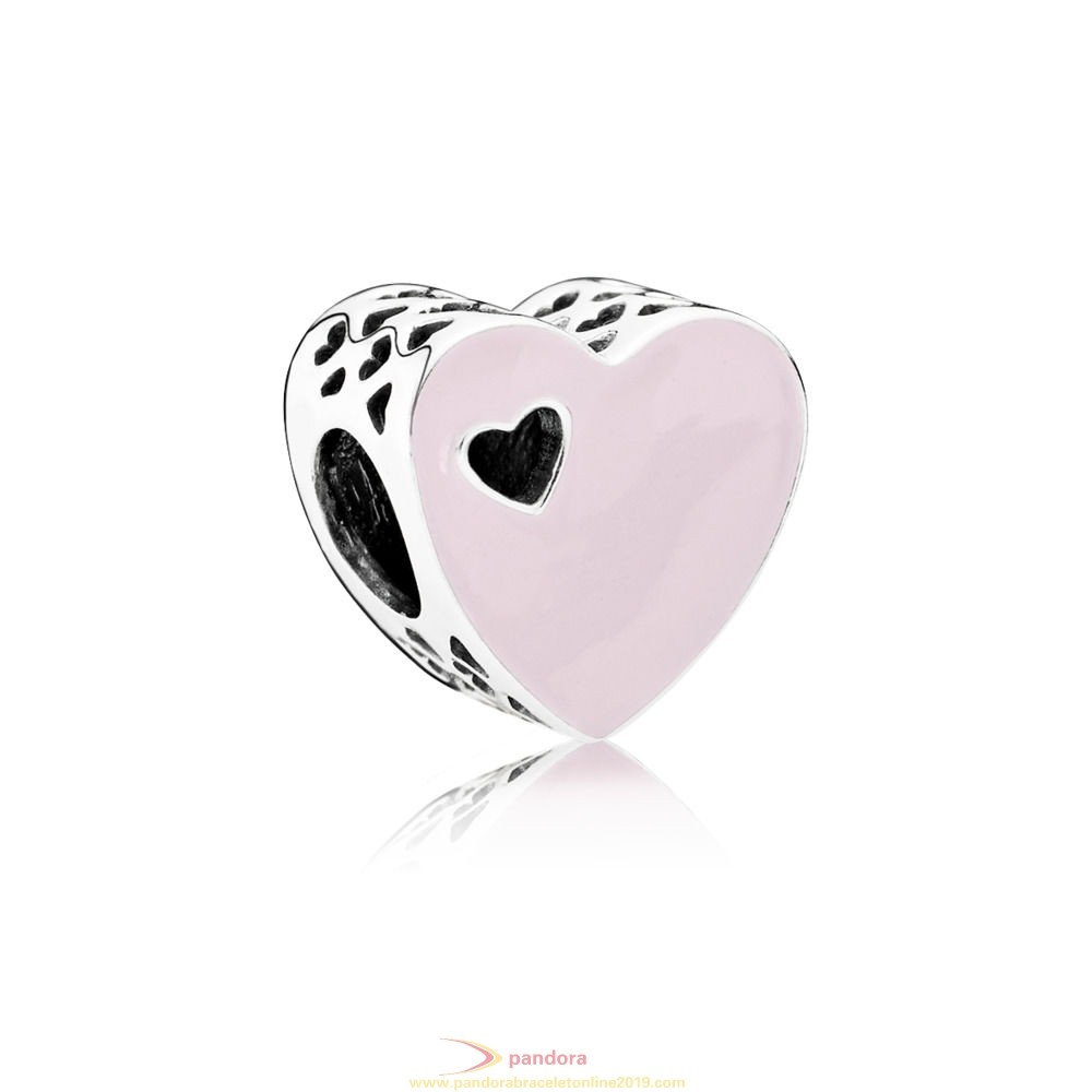 Find Pandora Jewelry Heart Silver Charm With Pink Enamel