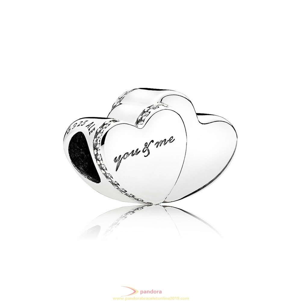 Find Pandora Jewelry Two Hearts Charm Clear Cz