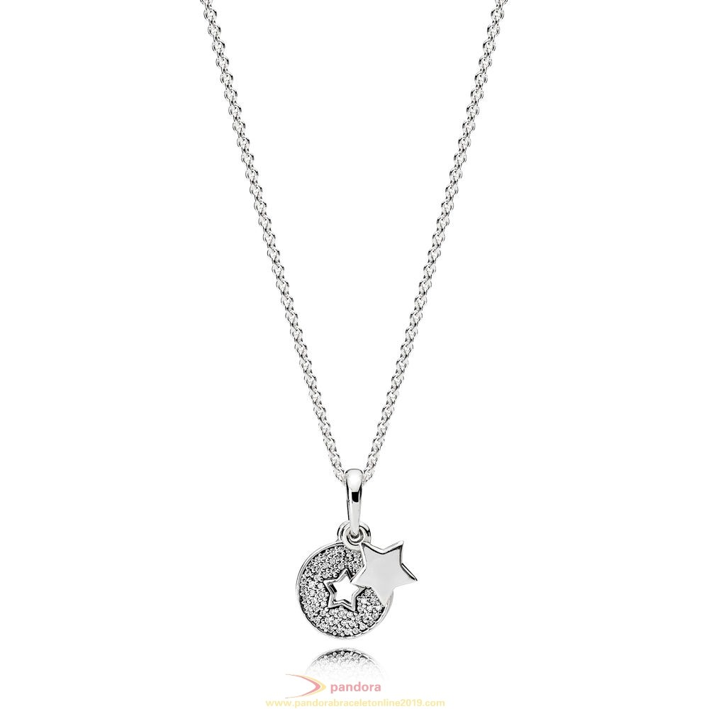 Find Pandora Jewelry Pandora Winter Collection Celebration Stars Necklace Clear Cz