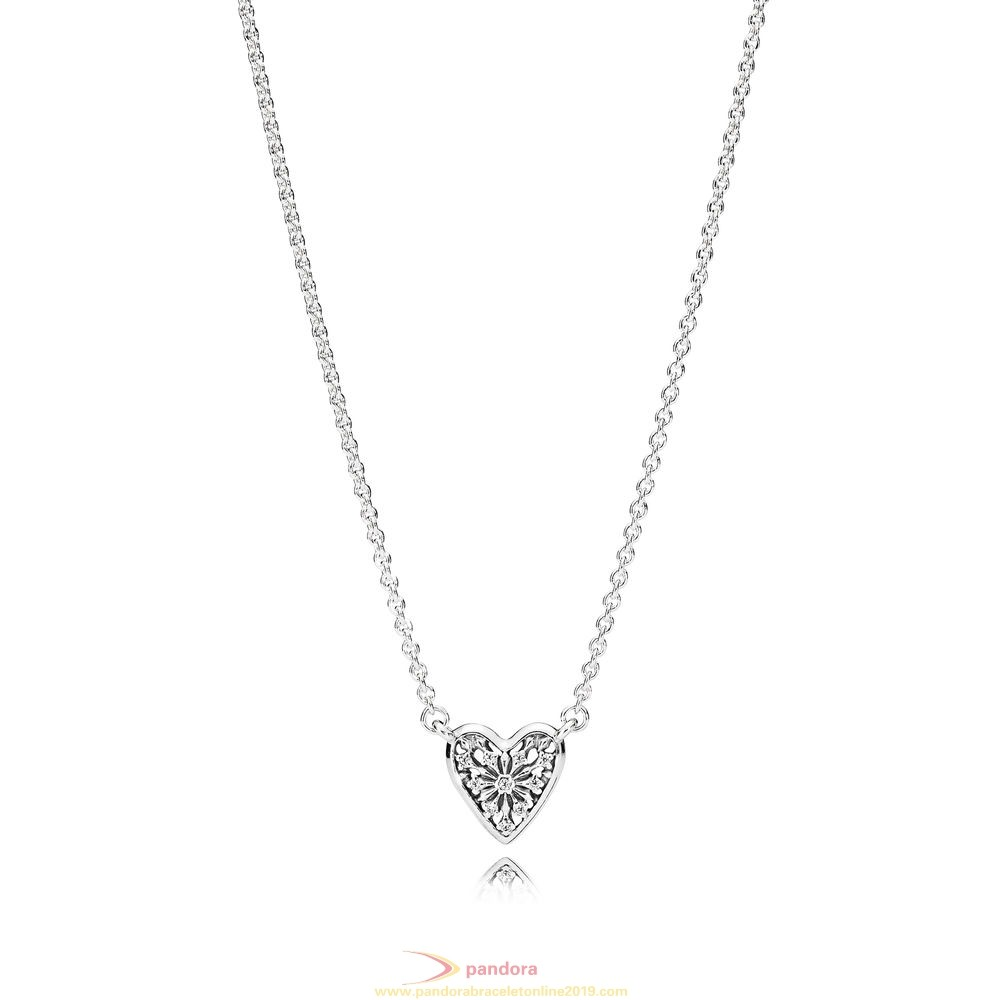 Find Pandora Jewelry Pandora Winter Collection Heart Of Winter Necklace Clear Cz