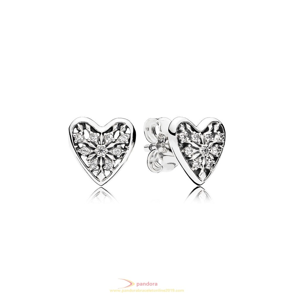 Find Pandora Jewelry Pandora Winter Collection Hearts Of Winter Stud Earrings Clear Cz