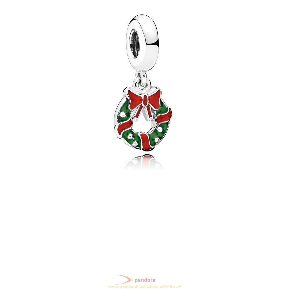 Find Pandora Jewelry Pandora Winter Collection Holiday Wreath Pendant Charm Berry Red Green Enamel