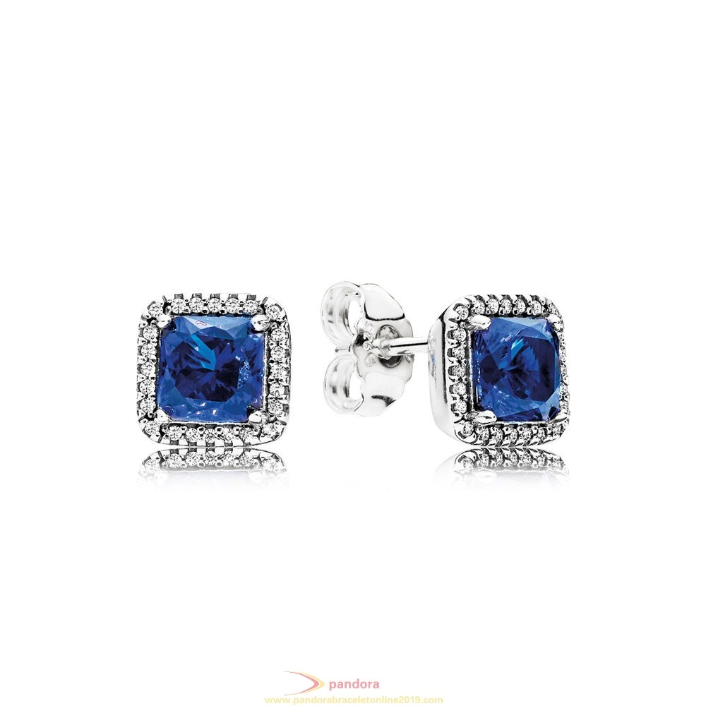 Find Pandora Jewelry Pandora Winter Collection Timeless Elegance Stud Earrings True Blue Crystals Clear Cz